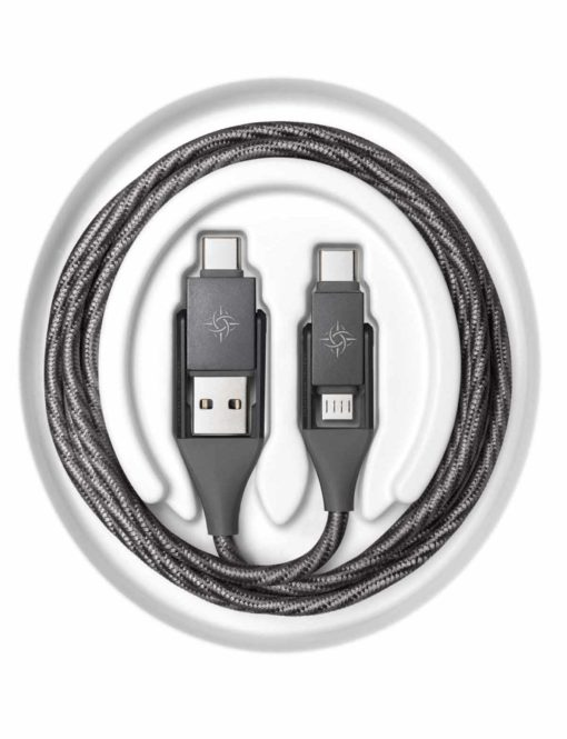Chimera Multi-Cable 4-in-1 dual connector heads and braided cloth cord wrapped in circle